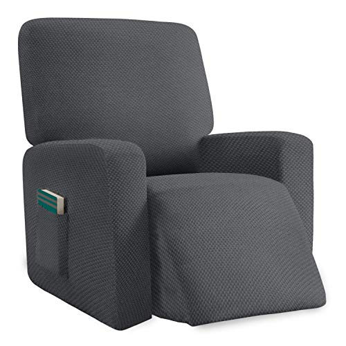 Luxurlife 1 Piece Stylish Recliner Covers Thickened Soft Recliner Chair Cover for Living Room Spandex Jacquard Anti-Slip Recliner Slipcovers with Elastic Bottom (Gray)