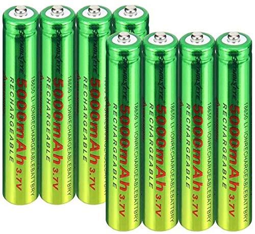 2/4/6/8/10 Piezas 18650 BATERIA DE BATERÍA DE BATERÍA 3.7V / 5000mAH Baterías Recargables 1 800 Ciclos para ICR18650 Baterías de Litio Li-Ion Bateria para Poder-8 Piezas
