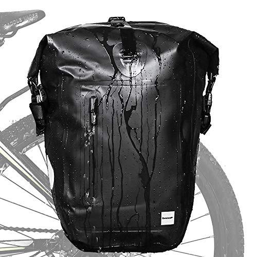 Rhinowalk Alforja para bicicleta de 25 l, resistente al agua, bolsa para portaequipajes, bolsa para bicicleta o portátil, color negro