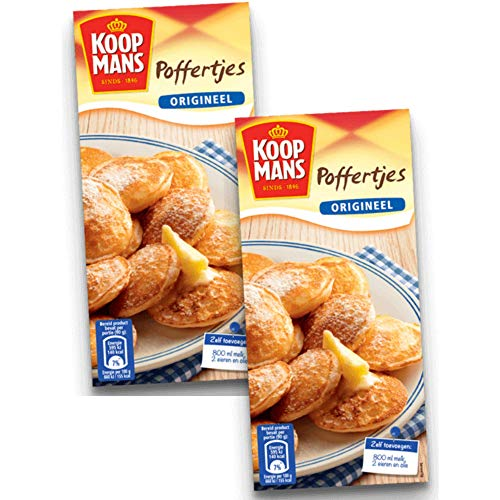 Koopmans Poffertjes Mini Dutch Pancakes Mix - (2-Pack) - Original Pancake Mix, Dutch Holland Import, 14.1 oz. Per Box
