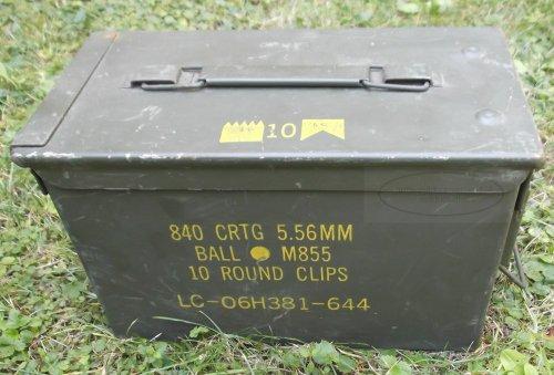 Munitionskiste Muni-Kiste original US, gebraucht, Metallkiste Behälter Metallbox
