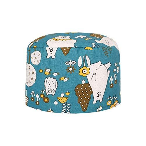 Cerlemi Unisex Frosted Fluffy Turban Hat Kochmütze Chirurgische Krankenschwester Cap Bouffant-Hüte Verstellbar Bandana Stoff Einfarbig Baumwolle Chirurgische Kappe