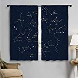 Constellation Energy-saving and noise-reducing Sky Map Andromeda Lacerta Cygnus Lyra Hercules Draco Bootes Lynx rod-shaped pocket curtains for the living room W84 x L96 Inch Dark Blue Yellow White