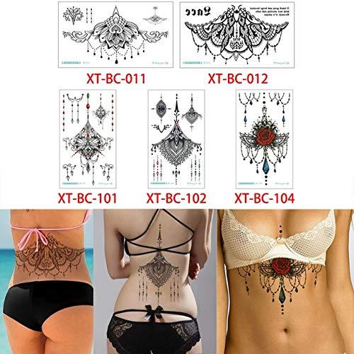 HXMAN 5 Blatt/set Sternum Tattoo Aufkleber Brust Schmuck Flügel Lotus Aufkleber Temporäre Tattoo Cool Xt-bc Körper Kunst Aufkleber Henna XT-BC Set 14