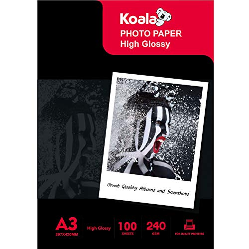KOALA Papel fotográfico de Brillante, A3, 297x420 mm, 100 hojas, 240 g/m², para impresora de inyección de tinta Canon HP Epson