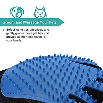 OMORC Gant de Toilettage Massage Brosse de Nettoyage Bain Animaux Peigne Epilateur Multifonctionnel pour Chien/Chat Bleu