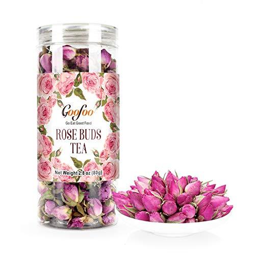 Goofoo Premium Dried Rose Buds Flower Herb Loose Leaf Decaffeinated Fragrant Natural Healthy Herbal Tea 2.8 oz