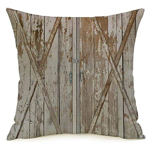 Lino decorativo Cuadrado Throw Pillow Cover Case Distressed Weathered Old Lock Madera Pintura Puerta Paneles de puerta Vintage Panel Cobertizo Rural Texturas ásperas Funda de almohada Cojín Sham for C