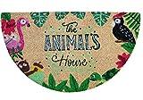 Felpudo de Coco Natural semicircular, felpudos Entrada casa, Alfombra Limpia Zapatos, Felpudo Exterior, Alfombra Entrada casa Interior, felpudos Originales y Divertidos, 40x70 (Animals)