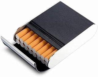 LONGWDS Caja de cigarro Cigarrillos de Cuero del Caso, Cigarrillos Caso Creativo, Acero Inoxidable del Metal de la Persona...