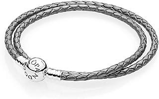 7a839d969 Pandora Silver Grey Braided-Double Leather Charm Bracelet, 590745CMP (15)