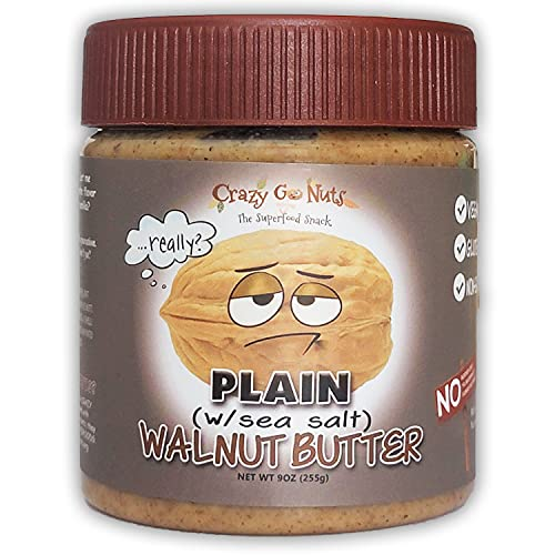 Crazy Go Nuts Walnut Butter - Plain w/ Sea Salt, 9 oz (1-Pack) - Healthy Snacks, Keto, Vegan, Low Carb, Gluten Free, Superfood - Natural, Non-GMO, ALA, Omega 3 Fatty Acids, Good Fats and Antioxidants