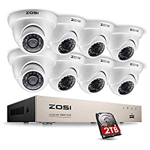 ZOSI 8 Channel CCTV Camera System 8x 1080P 2MP Dome Security Cameras Surveillance DVR Kit w/ 2TB Hard drive 80Ft Night Vision Motion Alerts