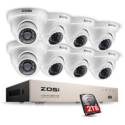 ZOSI 8CH Außen Video Überwachungssystem 1080P DVR Recorder mit 8X Outdoor 2MP Dome Überwachungskamera Set 2TB Festplatte, 20M IR Nachtsicht, Bewegung Alarm