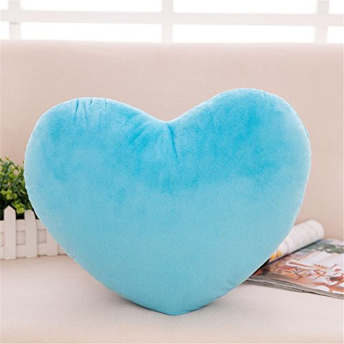 S-ssoy Plush Pillow Heart Shape Cushion Fluffy Throw Pillows Decorative Back Cushions for Friends Valentine's Day (Light Blue)