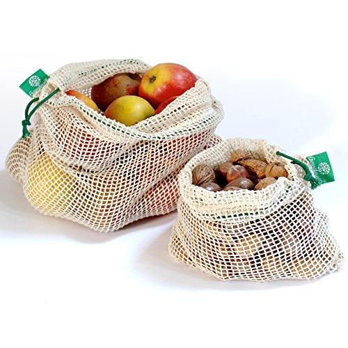 Wiederverwendbare Obst- und Gemüsebeutel aus Bio-Baumwolle mit Kordelzug - Einkaufsnetz/Lebensmittelbeutel im 2er Set grün (L,M)