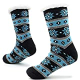 CityComfort Calcetines hechos punto de la zapatilla para los hombres con los deslizadores de la cama de la capa de las lanas para el modelo noruego del resbalón del hombre 41-44 (Azul medianoche)