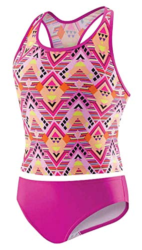 Speedo Girls Diamond Geo Racerback Tankini Pink Size 12, Dark Pink, Size 12