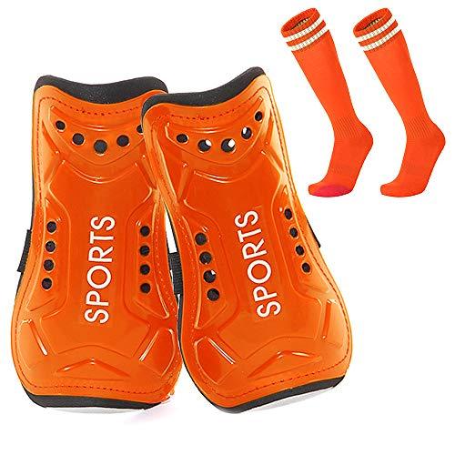 Homo Trends Espinilleras de fútbol, 3 tamaños, espinilleras, espinilleras para niños, calcetines de fútbol para niños y niñas, equipo protector de pantorrilla (naranja) (M)