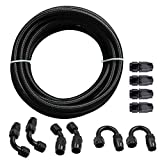 Fuel Line Hose Kit, Nylon Stainless Steel Braided 3/8 Fuel Line 6AN 20FT Oil/Gas/Fuel Hose...