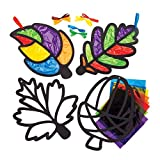 """Baker Ross AW854 Bastelsets für Deko-Anhänger """"Blatt"""" mit Buntglas-Effekt (6 Stück) -Kinder Kunst und Bastelhandwerk für Herbst und Winter, Sortiert"""