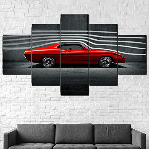 AWER 5 Piezas - Arte de Pared - 1970 Ford Torino King Cobra - Cuadros de Lienzo nórdico - 5 Piezas Lona Murales Cuadro - Impresión en Lienzo - Enmarcado