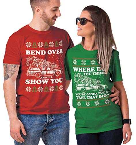 Haase Unlimited Bend Over and I'll Show You/Where Do You Think? Matching Couple T-Shirts (RED/Kelly, Mens 2XL / Ladies Large)