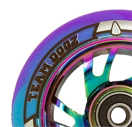 Paar Team Dogz Regenbogen neochrome Aluminium-Kern 100mm Stunt Scooter Rad mit gemischten PU und abec11 Lager - Regenbogen Core, blau/lila PU