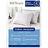 MZXcuin 100% Cotton Pillow Protectors, (2 Pack) Zipper Pillowcases Premium Allergy Dust Mite