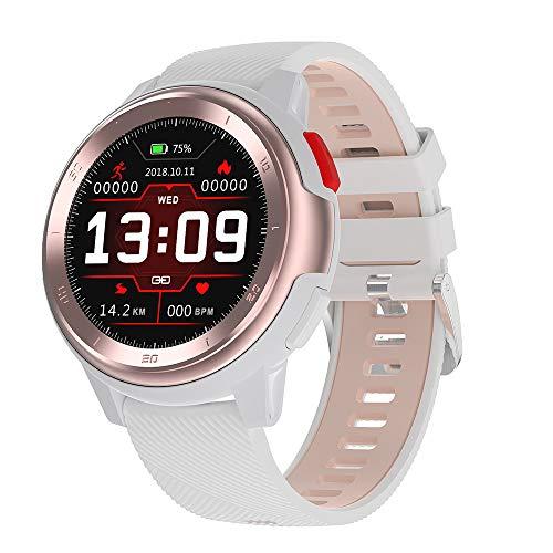 Covok Smartwatch, sporthorloge, activiteitentracker, dames/herenhorloge, klassiek horloge, ondersteuning van sport, calorieënteller, hartslag/bloeddruk, waterdicht, comfortabele armband, zwart, wit