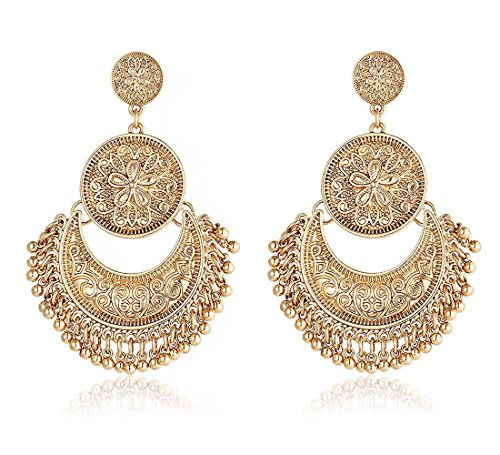 Gold Rajasthani Indian Dangle Tribal Earrings by Pashal