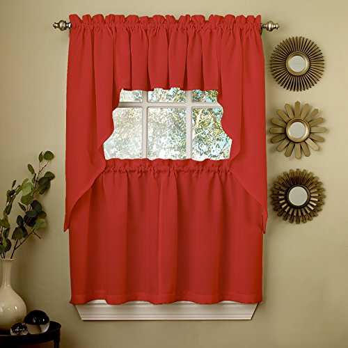 "Sweet Home Collection 5 Pc Kitchen Curtain Set-Valance Swag Choice of 24"" or 36"" Tier Pair, Ribcord Red"