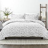 Linen Market Premium Down Alternative Abstract Garden Patterned Comforter Sets, Twin/Twin Extra Long, Light Gray