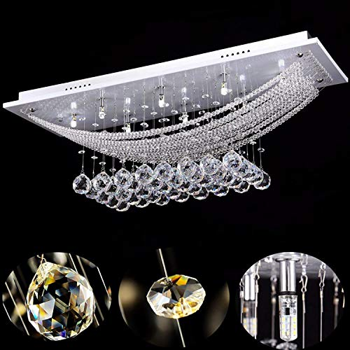 Maxmer 20w Kristalle Deckenleuchte LED Deckenlampe Dekorative Moderne Pendelleuchten Wohnzimmer für Restaurant Hotel Wohnzimmer Villa Balkon Flur usw (8*G4 LED Leuchtmittel enthalten)