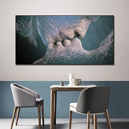 Papel pintado de beso abstracto impreso en pintura Canvast decoración nórdica Hoom imagen artística de pared para la decoración del hogar de la sala de estar 40x80 CM (sin marco)