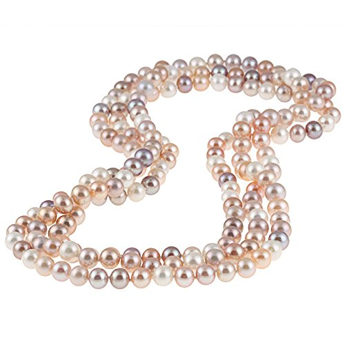TreasureBay Damen-Halskette mit Süßwasserperlen, 110 cm, mehrfarbig, 8–9 mm