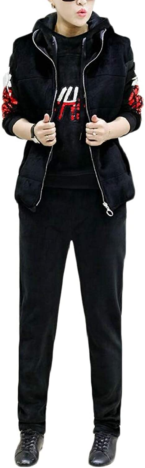 XQS Womens Casual Thick Warm Tracksuit 3 Piece Fleece Hoodie Vest Sweatsuit