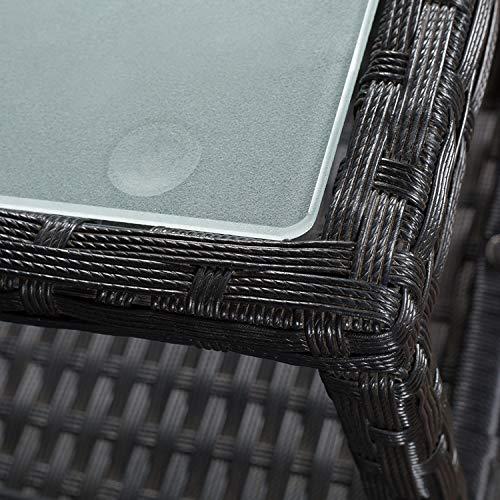 ArtLife Polyrattan Gartenbank Monaco | 2er Sitzbank mit integriertem Tisch schwarz | dunkelgraue Bezüge | Sitzgruppe Terrassenmöbel Balkonmöbel - 6
