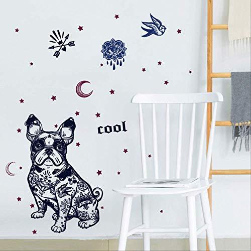 muurstickers,Mode Creatieve Franse Bulldog Muurstickers, Sterren Maan Vogel Hond Decor Slaapkamer Woonkamer Deur Decoratief Behang Diy Decals 50 * 70cm A