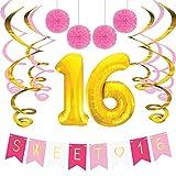 Sterling James Co. Paquete de Cumpleaños Sweet 16 –Decoraciones, Recuerdos de Fiesta, S...