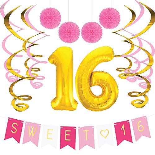 Sterling James Co. Sweet 16 Geburtstags-Party Pack – Sweet Sixteen Dekoration, Party Zubehör, Geschenke, Themen und Ideen – Runde Geburtstage Dekorationen