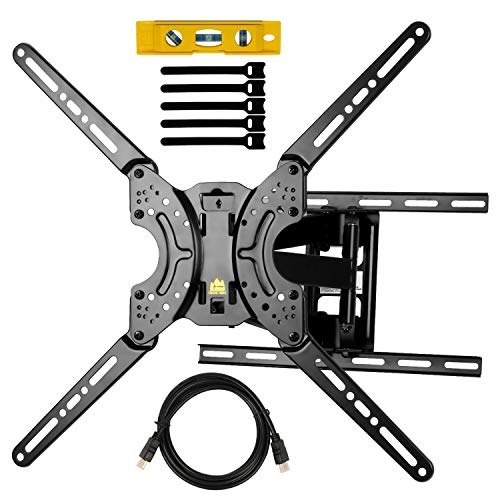 "Full Motion TV Wall Mount Dual Swivel Articulating Tilt 6 Arms TV Bracket for 37-70"" LED, OLED, 4K Flat/Curved TVs with VESA Max 600x400mm-Holp Up to 132lbs by HY-Bracket"