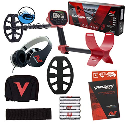 Minelab Vanquish 440 Metal Detector with V10 10' x 7' Double-D Waterproof Coil