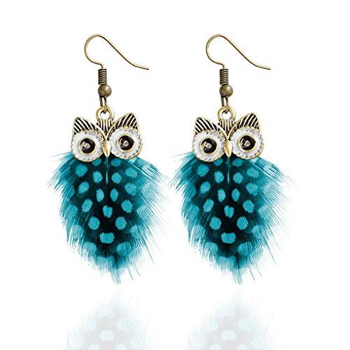 Babysbreath Multi couche Colour Peacock Feather Owl Shape Fishhook Drop Earrings For Women bleu