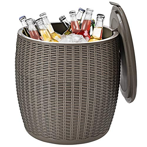 Giantex 12 Gallon Ice Cooler, Wicker Round Ice Chest, Outdoor Beer Wine Ice Bucket, Top Lid Side Handles Drainage Plug, Weather-Resistant Patio Cool Bar Table for Cocktail Party Poolside Deck (Gray)