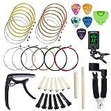 SUNYIN Corde per chitarra, Sostituisci kit di strumenti, 3 set Corde per chitarra acustica con accessori per principianti