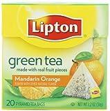 Lipton Té Verde, Mandarina Naranja, Bolsitas De Té Premium, Con Forma De Pirámide, Cajas (Pack de 6) 20-Conde cantidad de paquetes: 6