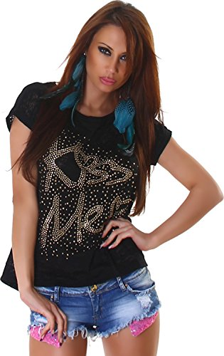 Tee-Shirt Femme Top Shirt Semi-Transparent Kiss ME Imprimé Rivets Short Sleeve Trendy 36,38,40,42 Noir