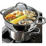 "HOMI CHEF 5QT LARGE 4.5"" DEEP 3-RIDGE Universal Steamer Cookware (Nickel Free Stainless Steel, 3 Ridges for 8""/ 9""/ 9.5"" Pot) - Steamer Inserts for Pots - Kitchen Steamer Basket Steamer Pot"