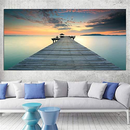 KWzEQ Moderne Seestück- und Landschaftsmalerei-Leinwandplakatplakatwandkunstbildhauptdekoration40X80cmRahmenlose Malerei